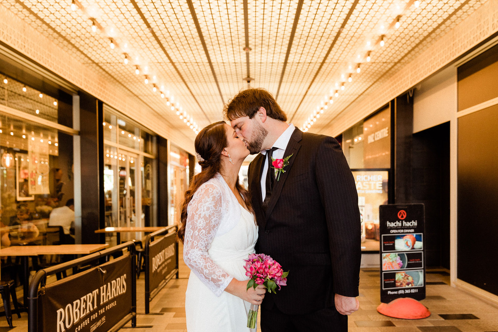 Couple kiss after their wedding ceremony in Christchurch City Registry Office