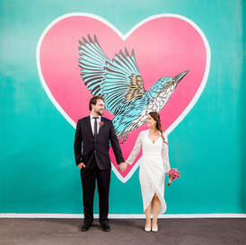 christchurch wedding bride and groom flox art