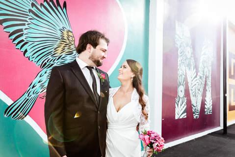 bride and groom christchurch city wedding flox art
