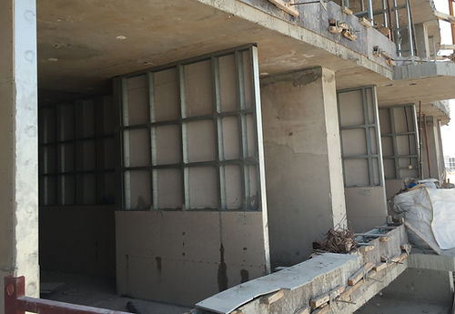Construction of ECOCON Solid Walls filled with lightweight cellular concrete