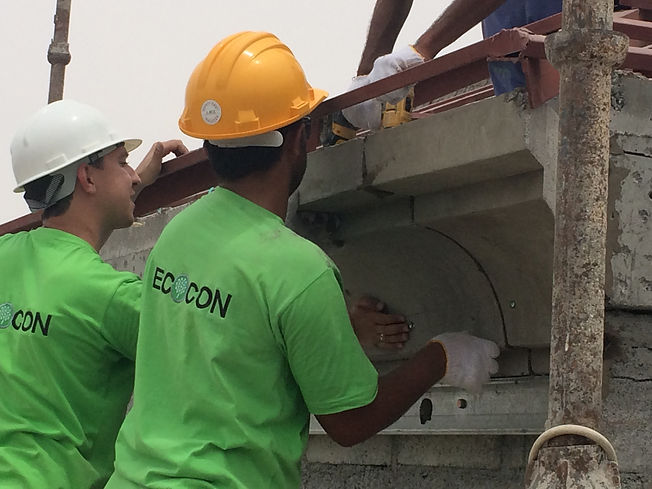 Installation of ECOCON lightweight cellular concrete decorative cornices
