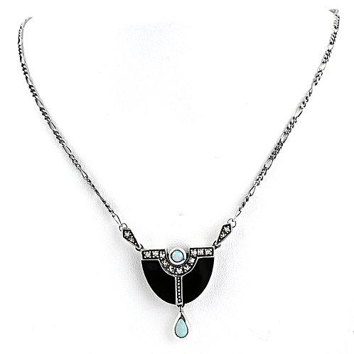 Collier En Argent 925 (Opales - Onyx - Marcassites)