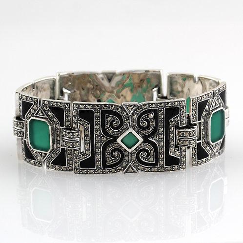 Bracelet en Argent 925 (Agate verte- Email noir - Marcassites)