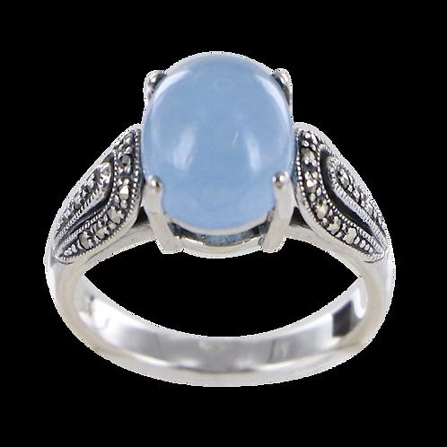 Bague En Argent 925 (Jade bleu - Marcassites)