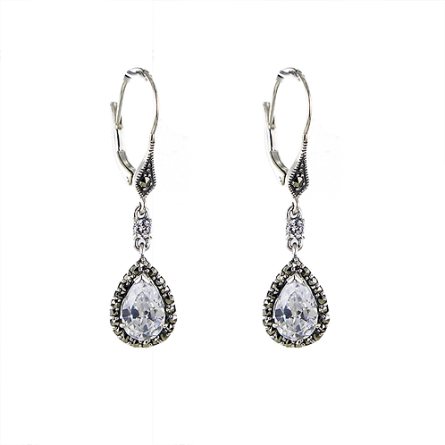 Boucles d'oreille en Argent 925 (Oxyde de Zirconium - Marcassites)