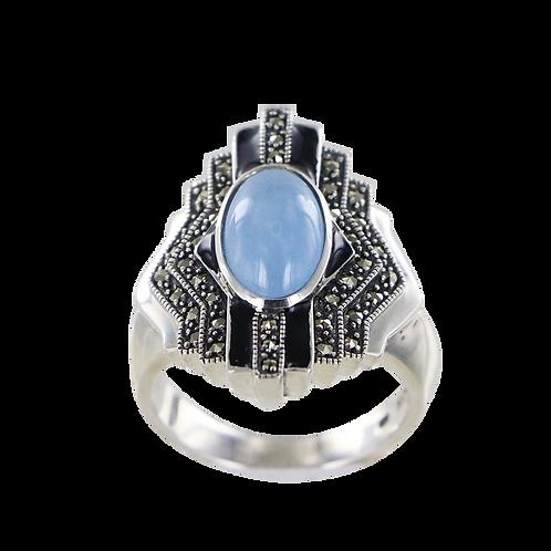 Bague en Argent 925 (Jade bleu - Email noir - Marcassites)