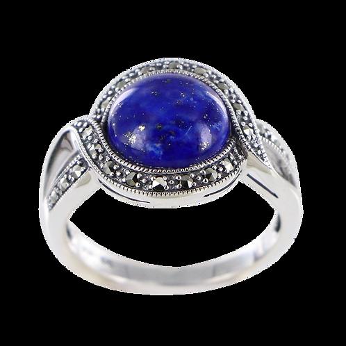 Bague En Argent 925 (Lapis lazuli - Marcassites)