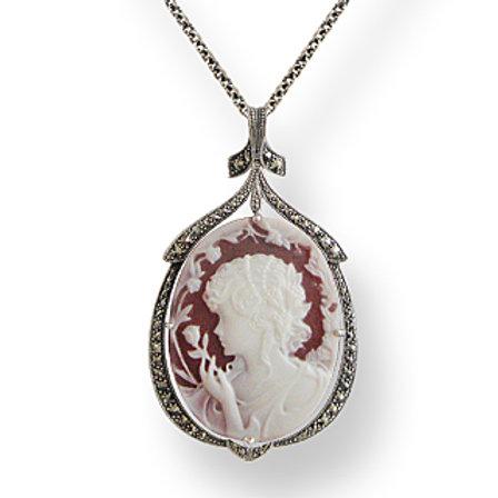 Collier En Argent 925 (Camée Rose - Marcassites)