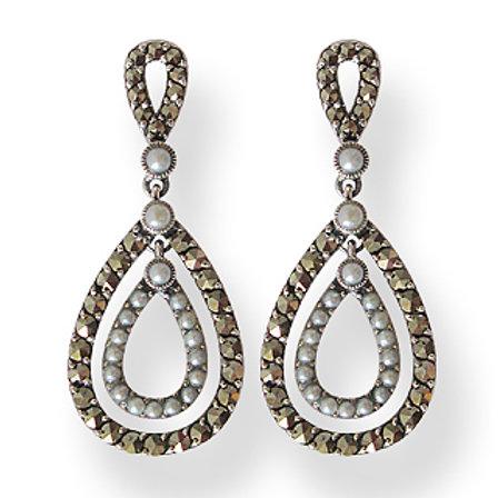 B.O En Argent 925 (Perles De Culture - Marcassites)
