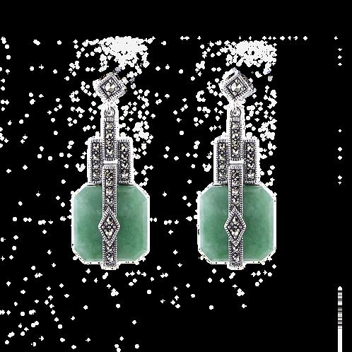 Boucles d'oreille en Argent 925 (Jade vert - Marcassites)