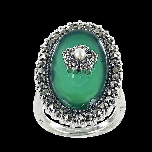 Bague en Argent 925  (Agate verte - Perle de culture - Marcassites)