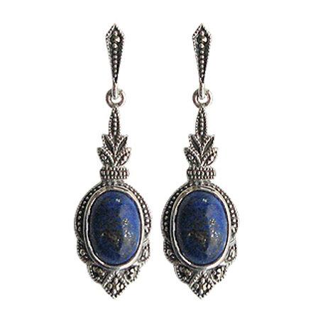 B.O En Argent 925 (Lapis lazuli - Marcassites)