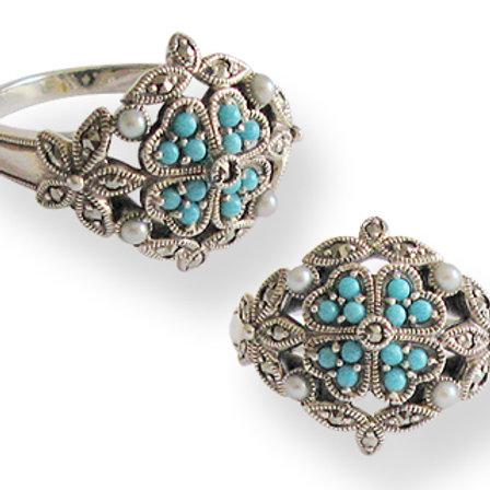 Bague en Argent 925 (Turquoise - Perles de culture - Marcassites)