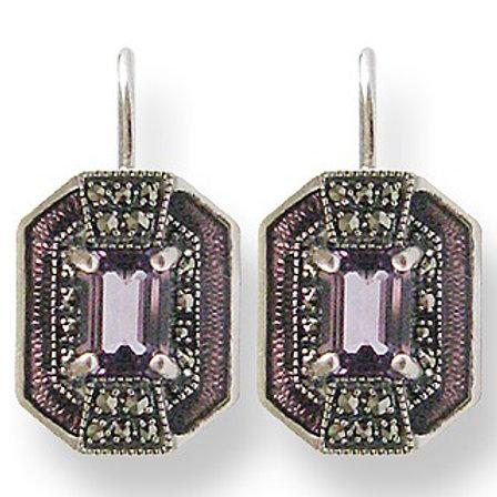 B.O En Argent 925° (Améthyste- Email violet - Marcassites)