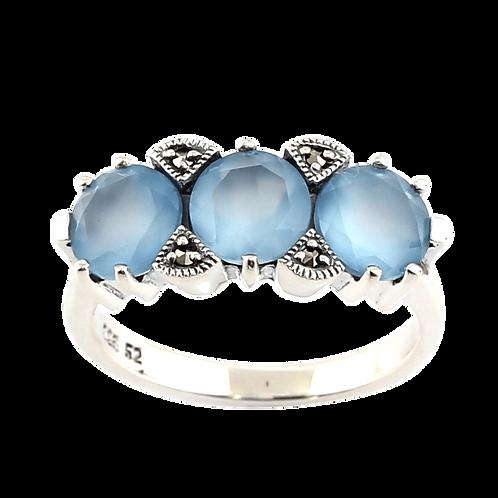 Bague en Argent 925 (Agate bleue - Marcassites)