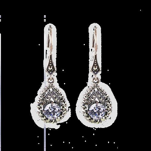 Boucles d'oreilles En Argent 925 (Oxydes de zirconium - Marcassites))