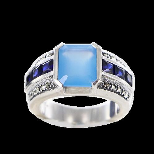 Bague en Argent 925 (Agate bleue - Imitation saphir - Marcassites)