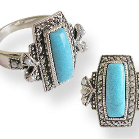 Bague en Argent 925 (Perles de culture - Turquoise -Marcassites)