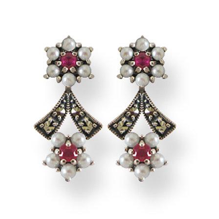 B.O En Argent 925 (Perles De Culture - Rubis - Marcassites)