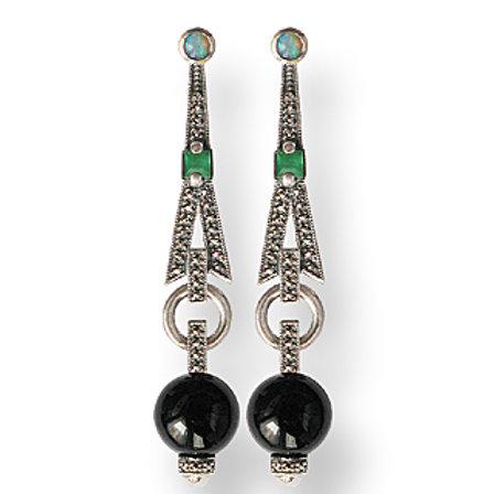 B.O En Argent 925 (Opales - Onyx - Agate Verte - Marcassites)