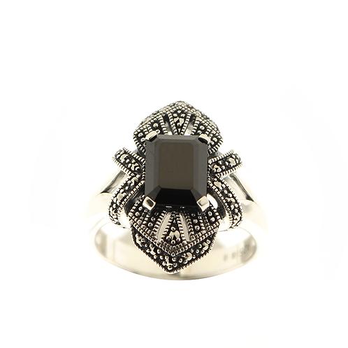 Bague en Argent 925 (Onyx - Marcassites)