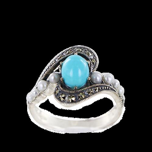 Bague En Argent 925 (Turquoise reconstituée - Perles de culture - Marcassites)