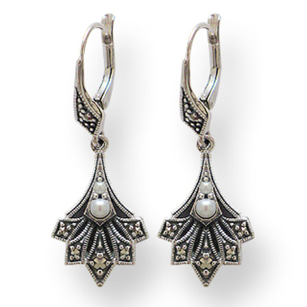 B.O en Argent 925 (Perle de culture - Marcassites)