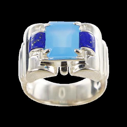 Bague en Argent 925 (Agate bleue - Lapis lazuli -Marcassites)