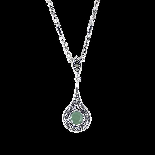 Collier en Argent 925 (Jade vert -Marcassites)