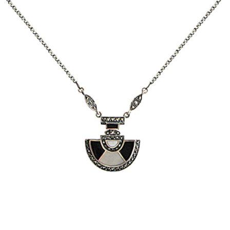 Collier En Argent 925 (Nacres - Onyx - Marcassites)