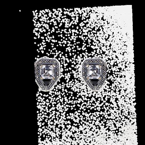 Boucles d'oreille en Argent 925 (Cristal blanc - Marcassites)