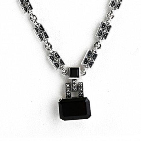 Collier en Argent 925 - Onyx - Marcassites