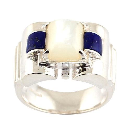 Bague En Argent 925 (Lapis Lazuli - Nacre)