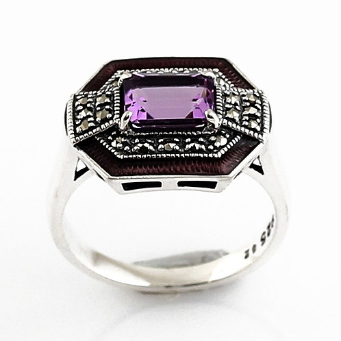 Bague En Argent 925° (Améthyste - Email violet - Marcassites)