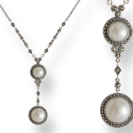 Collier En Argent 925 (Perles de culture mabé - Marcassites)