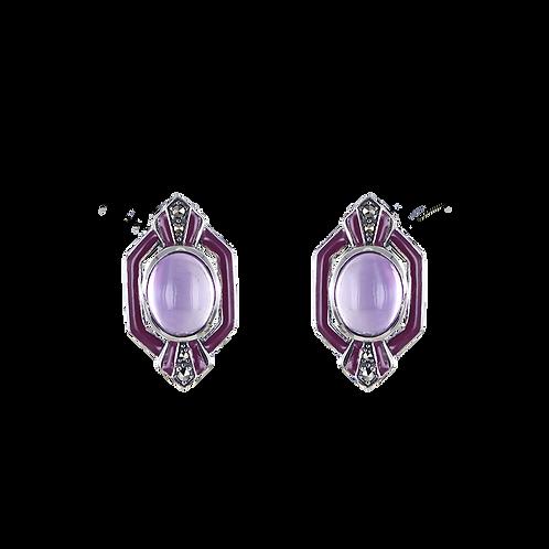 Boucles d'oreille en Argent 925 (Améthyste - Email violet - Marcassites)