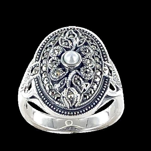 Bague en Argent 925 (Perles de cultures - Marcassites)