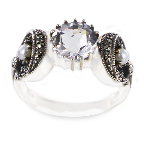Bague En Argent 925 (Oxydes de zirconium - Perles de culture - Marcassites)
