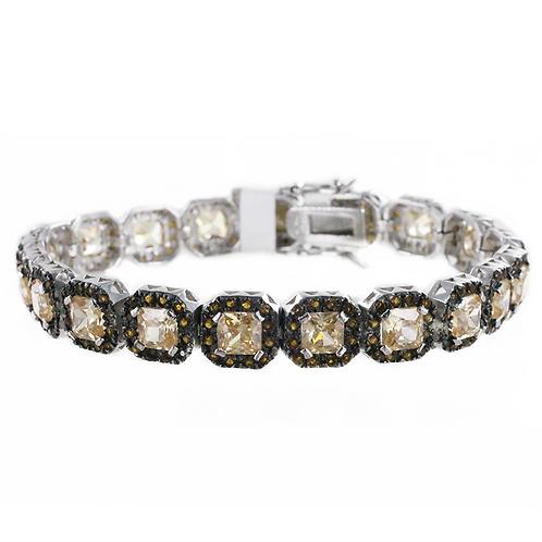 Bracelet en Argent 925  (Imitation Citrine - Marcassites)