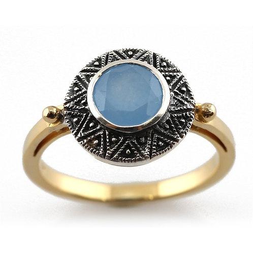 Bague en Argent/vermeil 925 (Jade bleu)