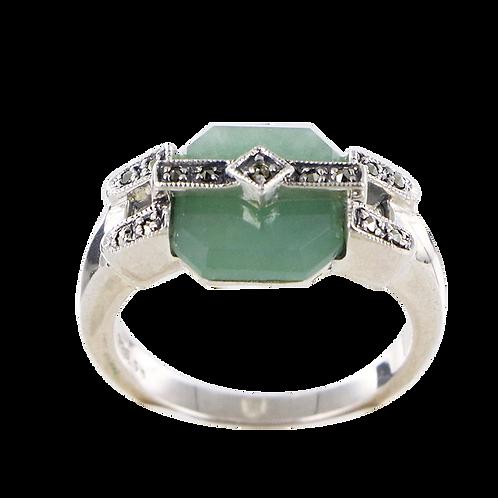 Bague en Argent 925 (Jade vert -Marcassites)