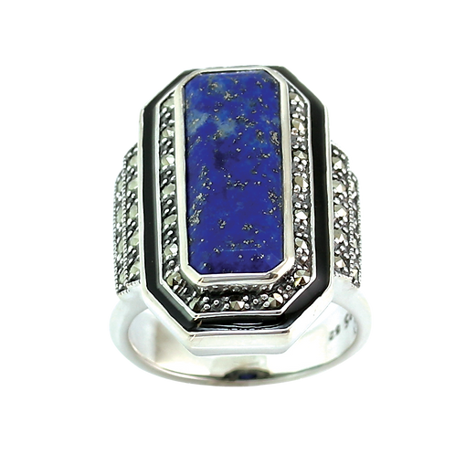Bague en Argent 925 (Lapis lazuli - Email noir - Marcassites)