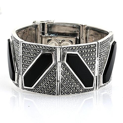 Bracelet En Argent 925° (Onyx - Marcassites)