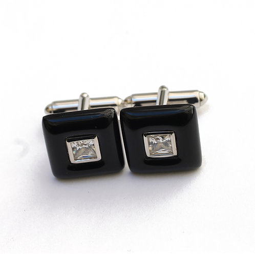 Boutons de Manchette en Argent 925 (Onyx - Oxydes de zirconium)