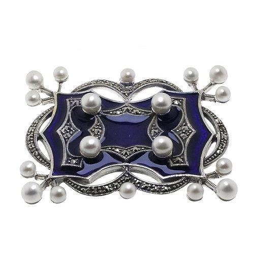 Broche En Argent 925 (Email Bleu - Perles De Cultures - Marcassites)