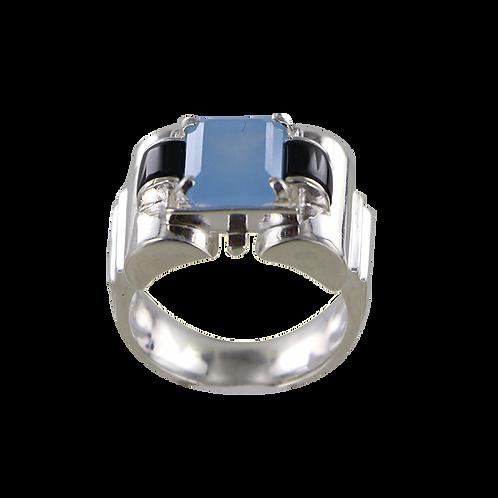 Bague en Argent 925 (Jade bleu - Onyx - Marcassites)