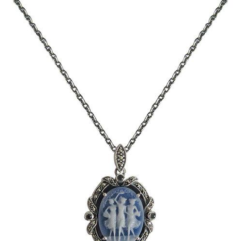 Collier en Argent 925° (Camée bleu - Topaze bleue - Marcassites)