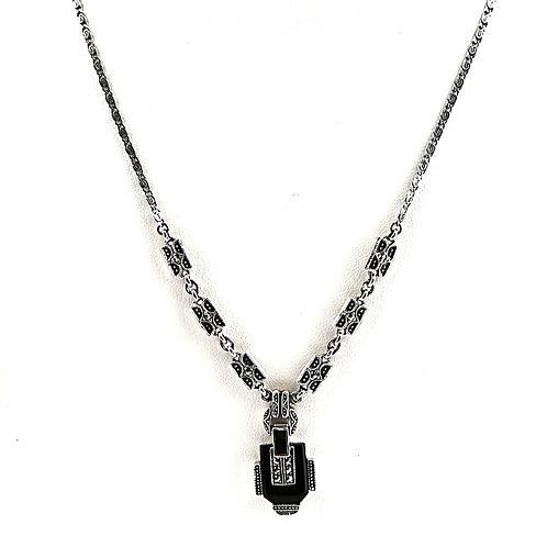 Collier en Argent 925° (Onyx  - Marcassites)