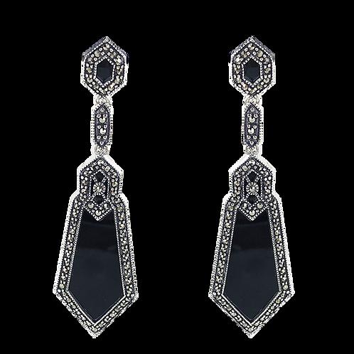 Boucles d'oreilles en Argent 925  (Onyx - Marcassites)