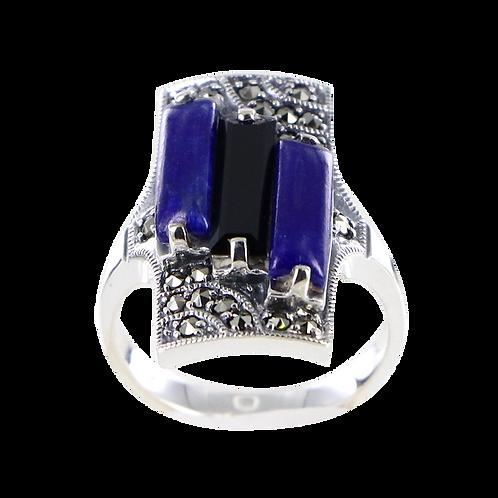 Bague en Argent 925 (Lapis lazuli - Onyx - Marcassites)